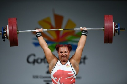 Emily Campbell winning her Bronze medal at the Commonwealth Games 2018